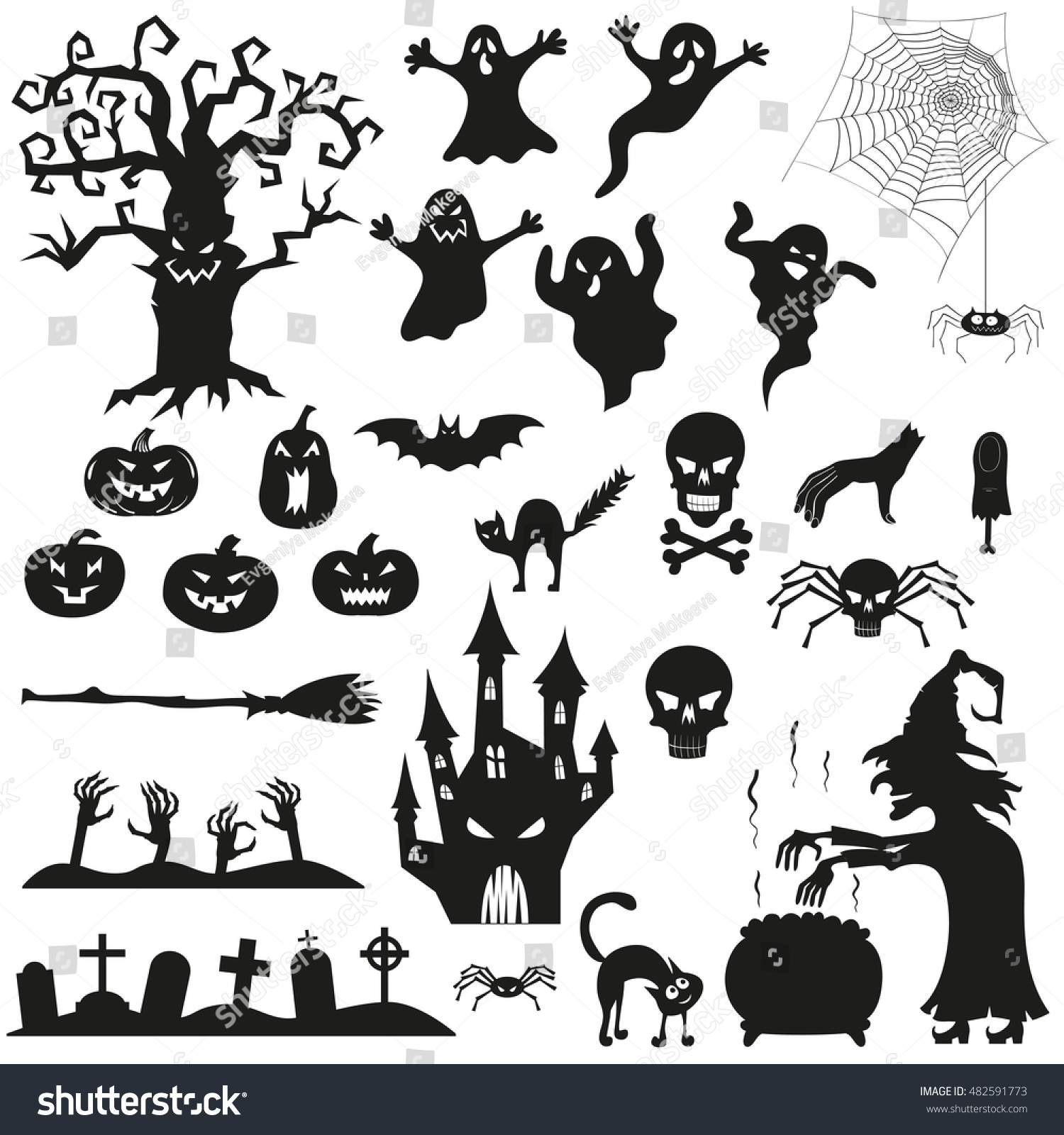 Halloween Spooky Black Silhouettes Vector Icons Stock