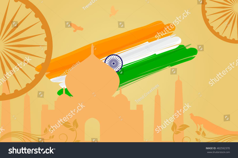 Indian Traditional Background Taj Mahal Flag Stock Vector HD ...