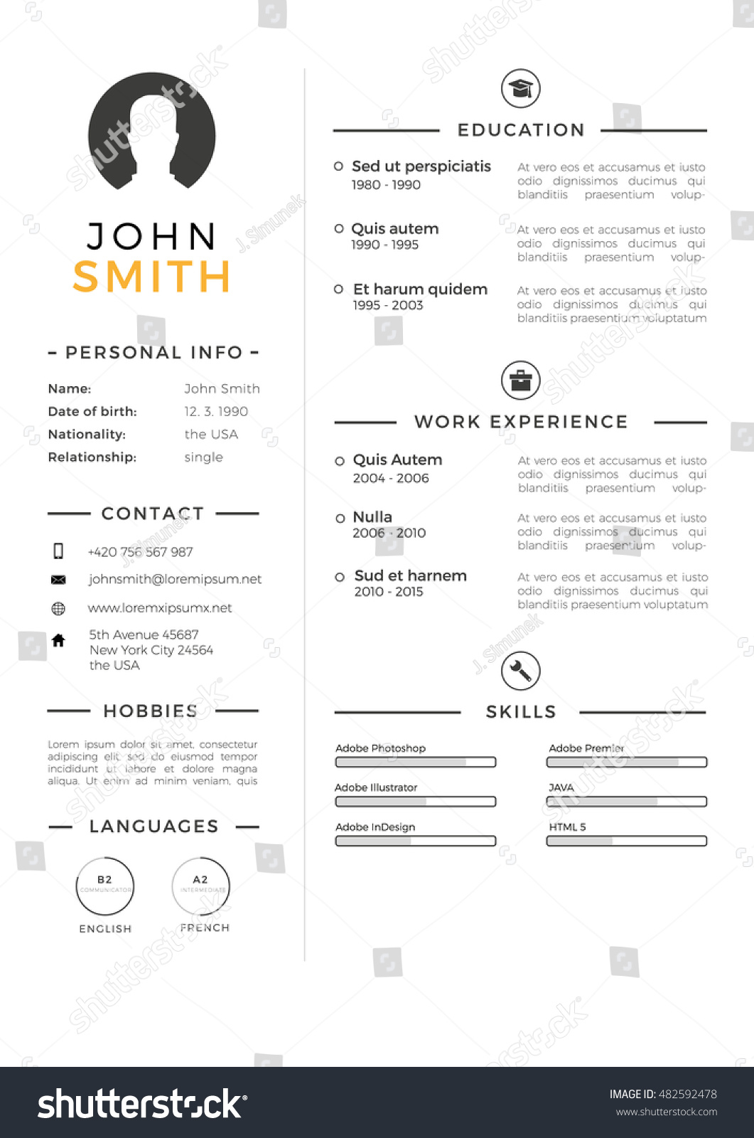 minimalistic personal vector resume cv template stock vector