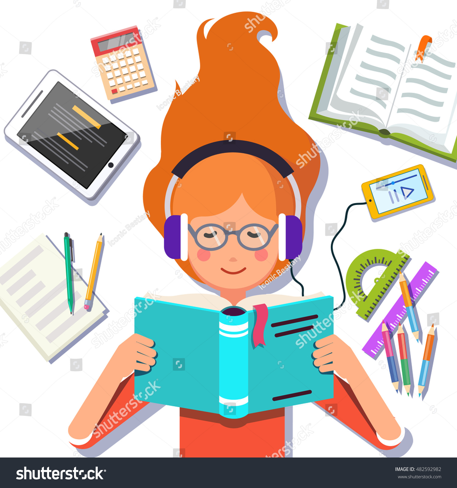 cute school collage student girl lying stock vector (royalty free