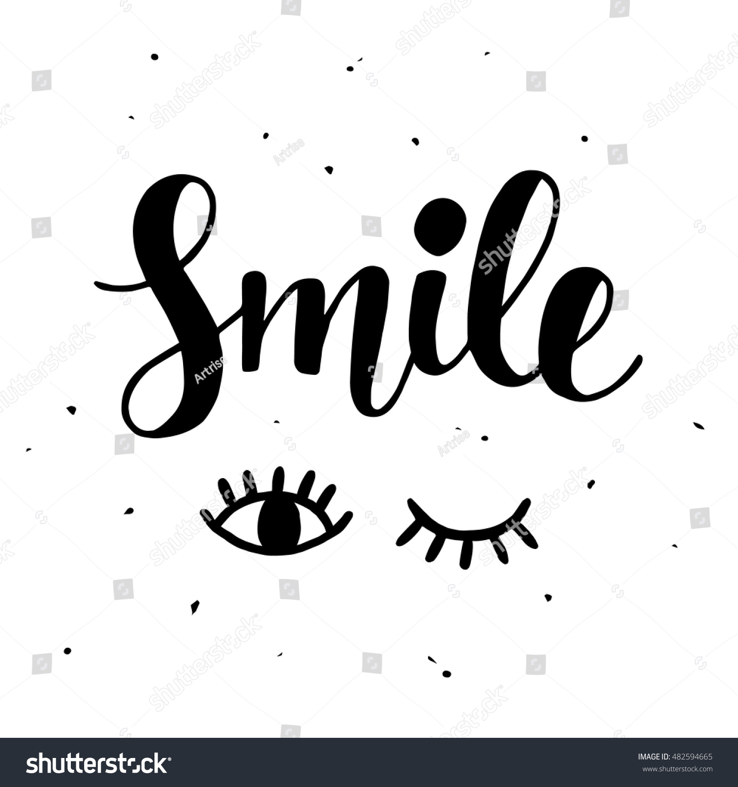 Smile inspirational poster cute hand lettering stock