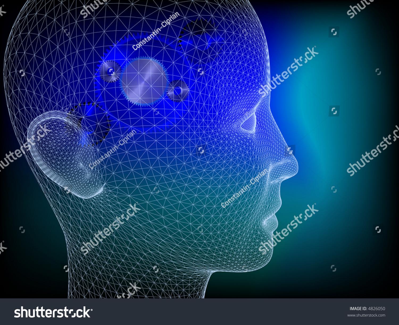 Wired Human Head Wheels Inside Illustrate Stock Illustration 4826050 ...