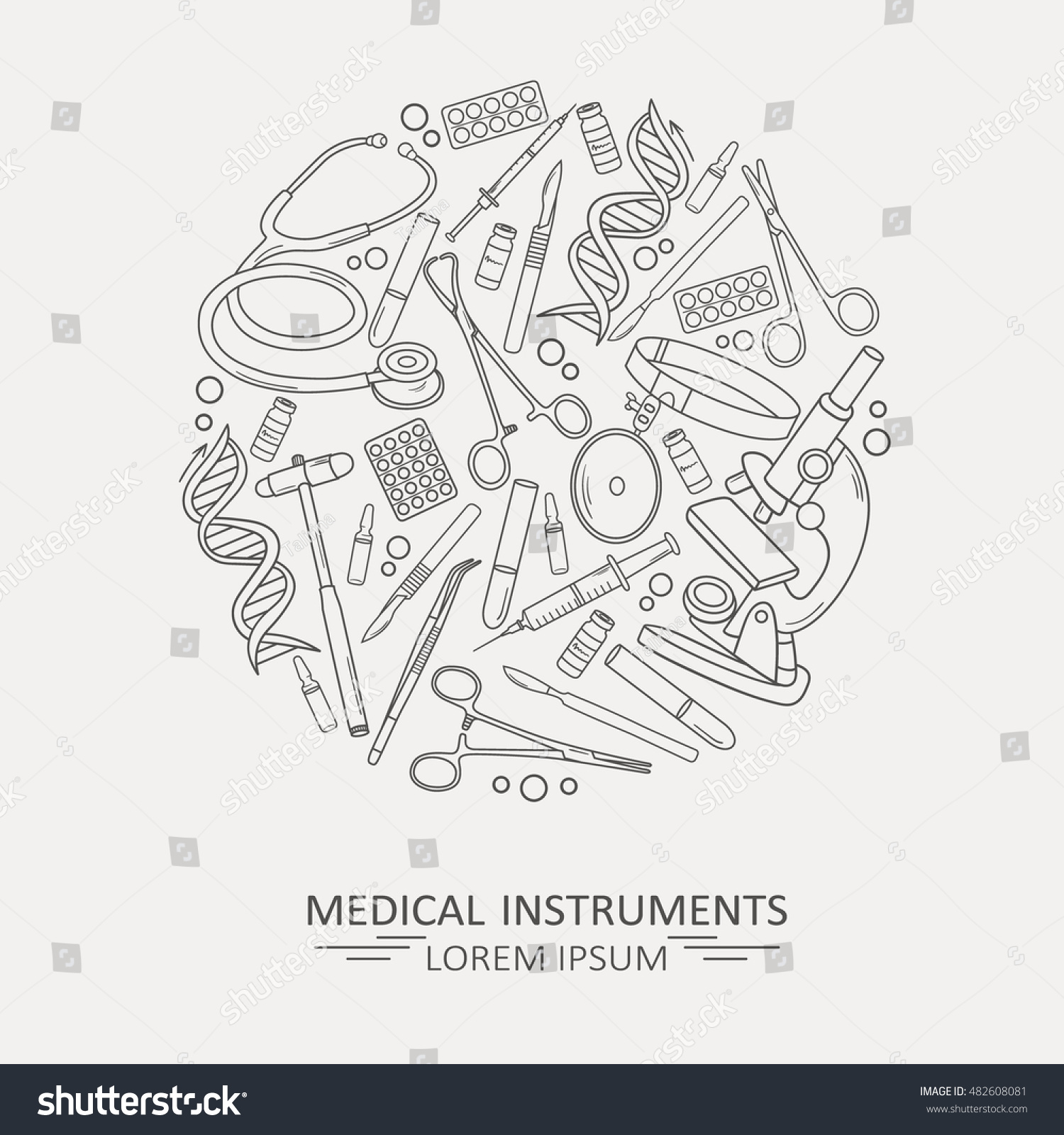 Poster design tools - Medical Illustration With Medical Instruments Poster Design Or Backdrop Set Of Medical Tools