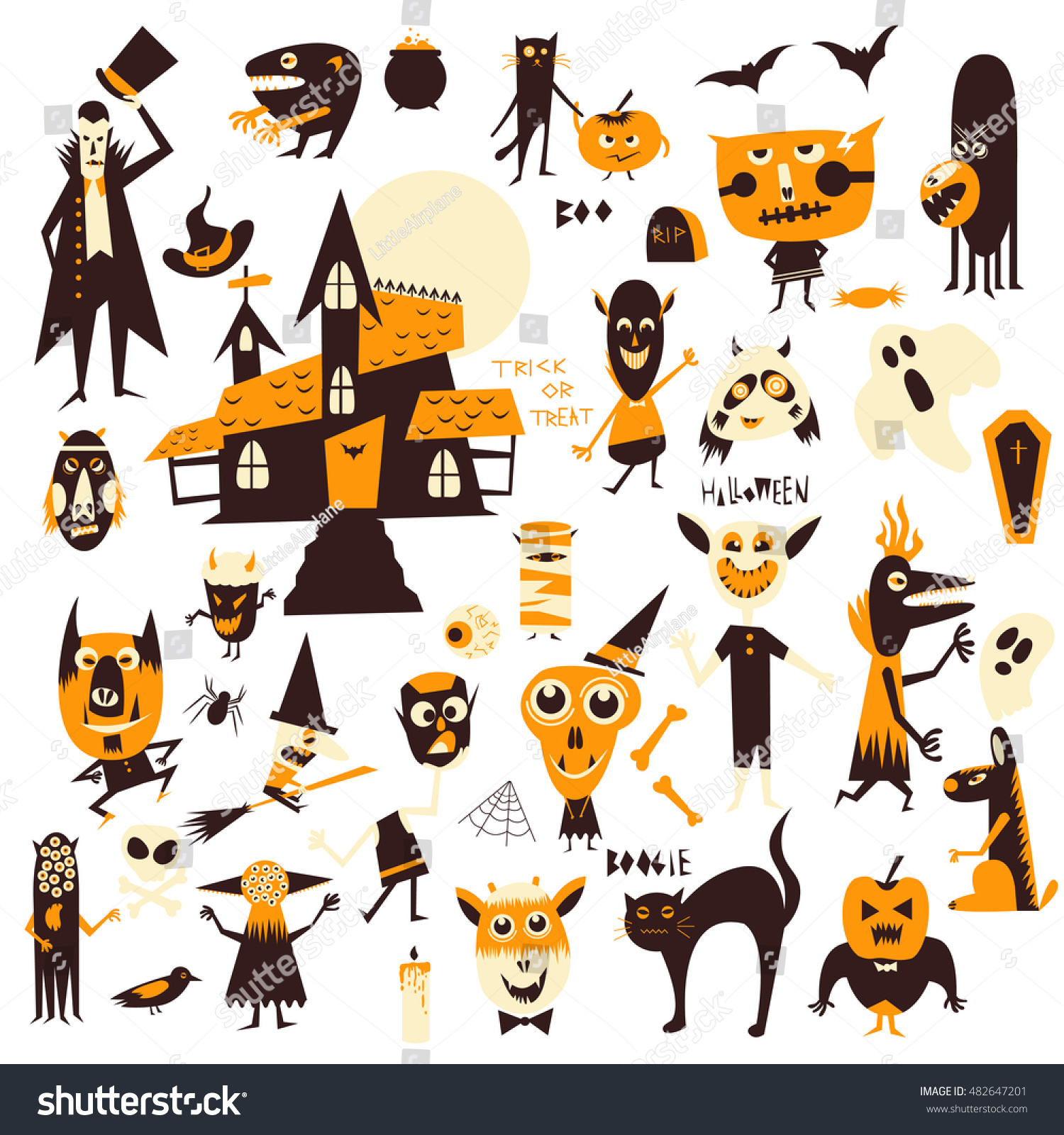 Vector Set Icons Characters Halloween Theme Stock Vector 482647201 ...
