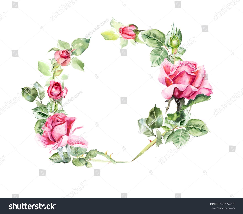 Circle Frame Roses Wedding Drawings Greeting Stock Illustration