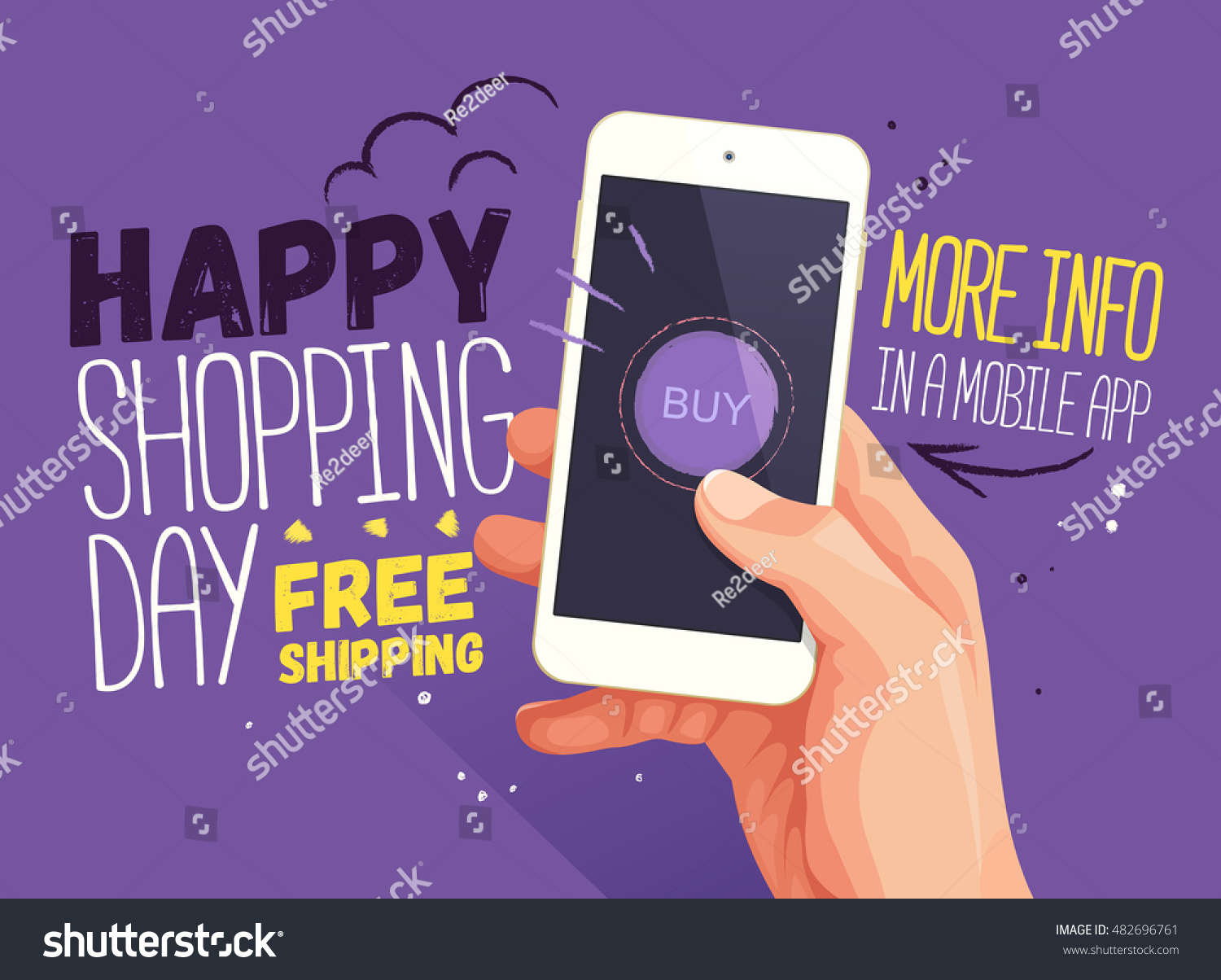 Free poster design and print - Happy Shopping Day For Mobile App Banner Discount Banner Design Website Sale Poster