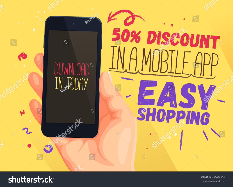 Poster design app - Discount Banner For Mobile App Easy Shopping Discount Banner Design Website Sale