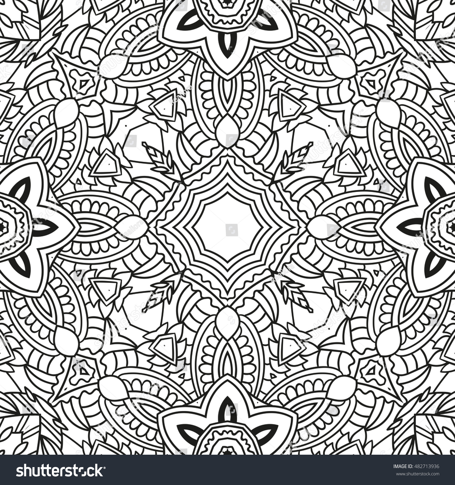 Adult Coloring Page Seamless Zendoodle Vector Stock Vector ...