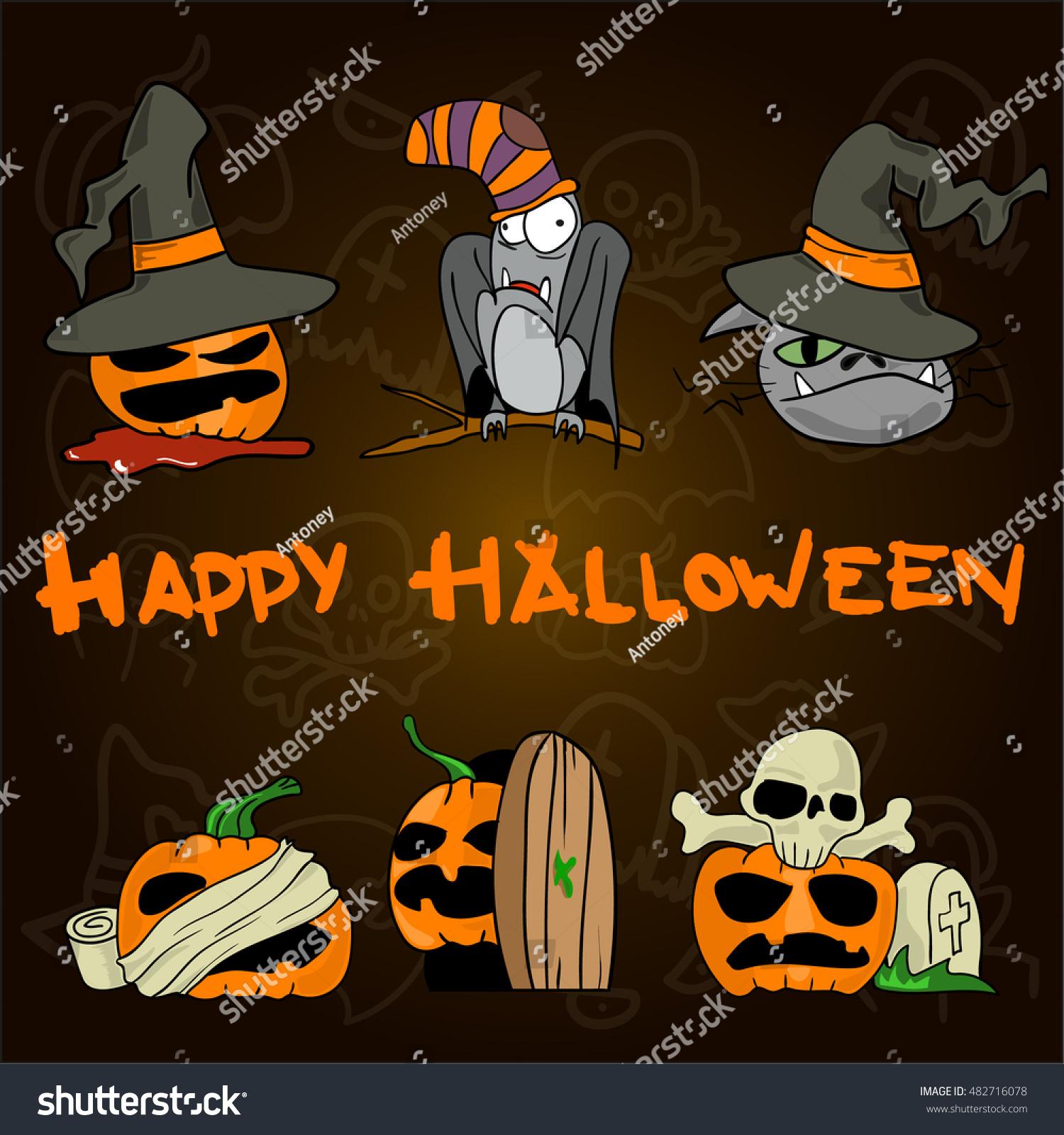 Set Funny Halloween Cartoons Pumpkin Hat Stock Vector 482716078 ...