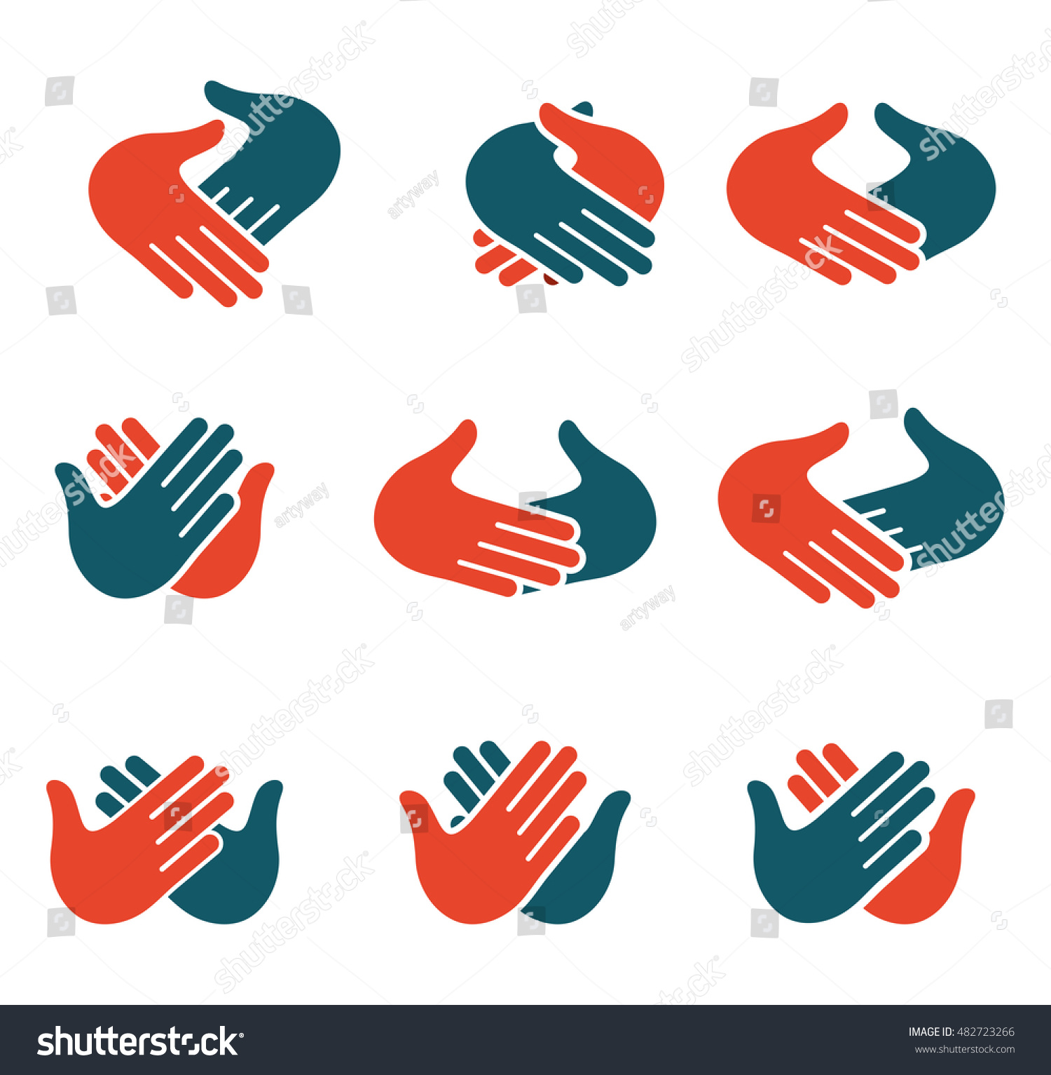 isolated abstract clapping hands logo set stock vector 2018 rh shutterstock com shaking hands logo vector shaking hands logo images