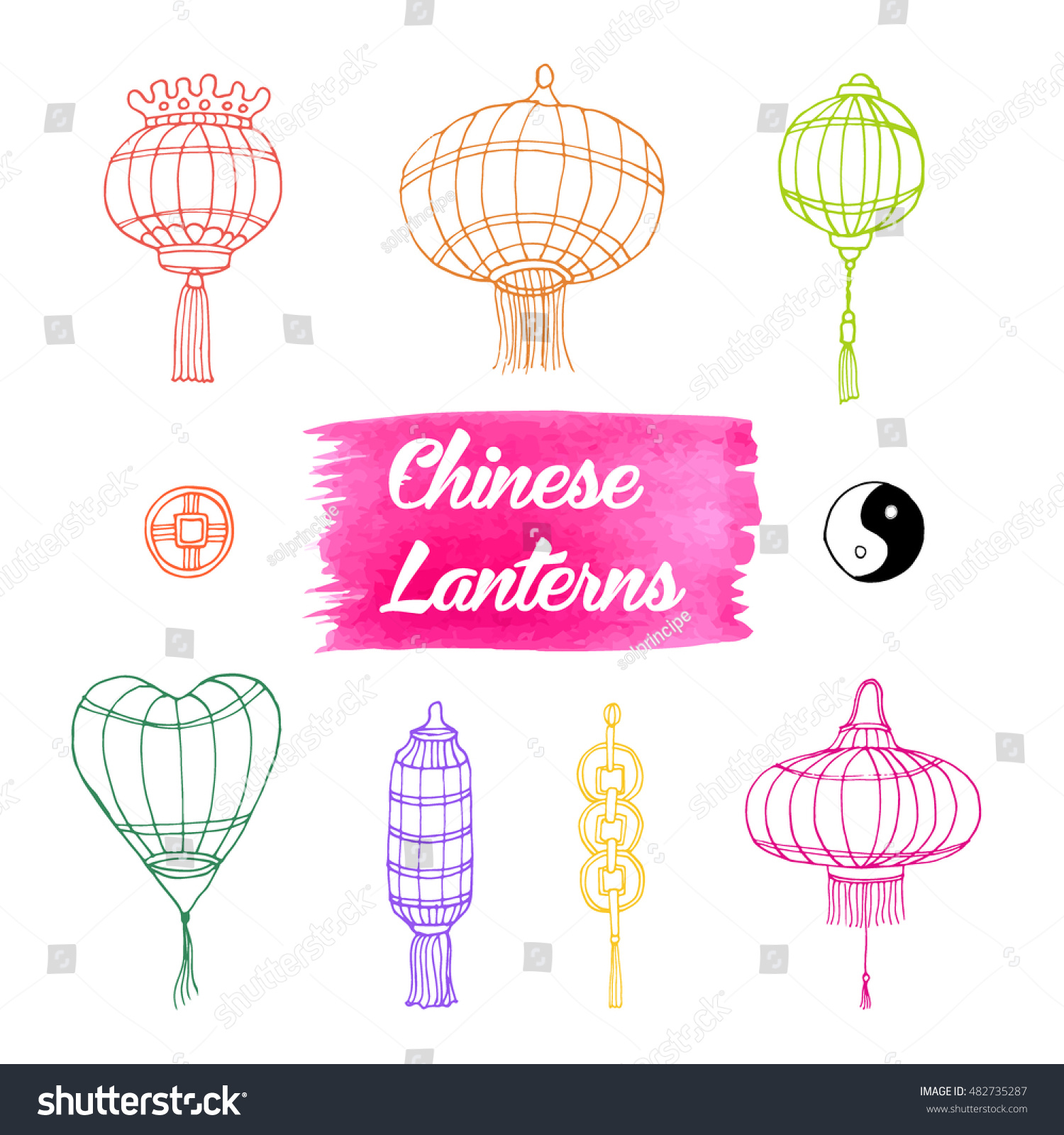 Hand drawn set chinese paper sky stock vector 482735287 shutterstock hand drawn set of chinese paper sky lantern traditional lamps for chinese new year decoration buycottarizona Images