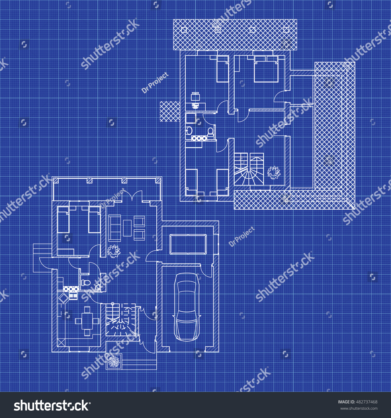 Attractive Floor Plans Of A Modern Apartment. Vector Interior Design. Architectural  Blueprint.