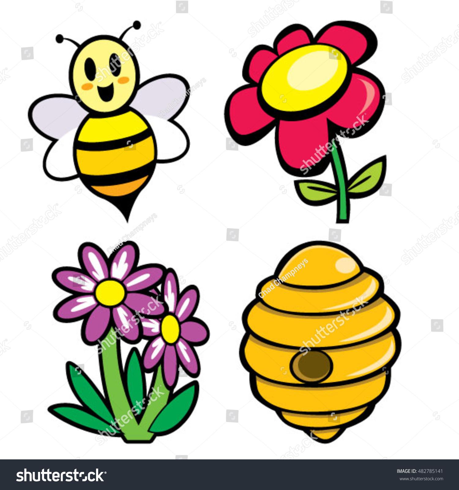 cute honey bee flowers hive cartoons stock vector 482785141