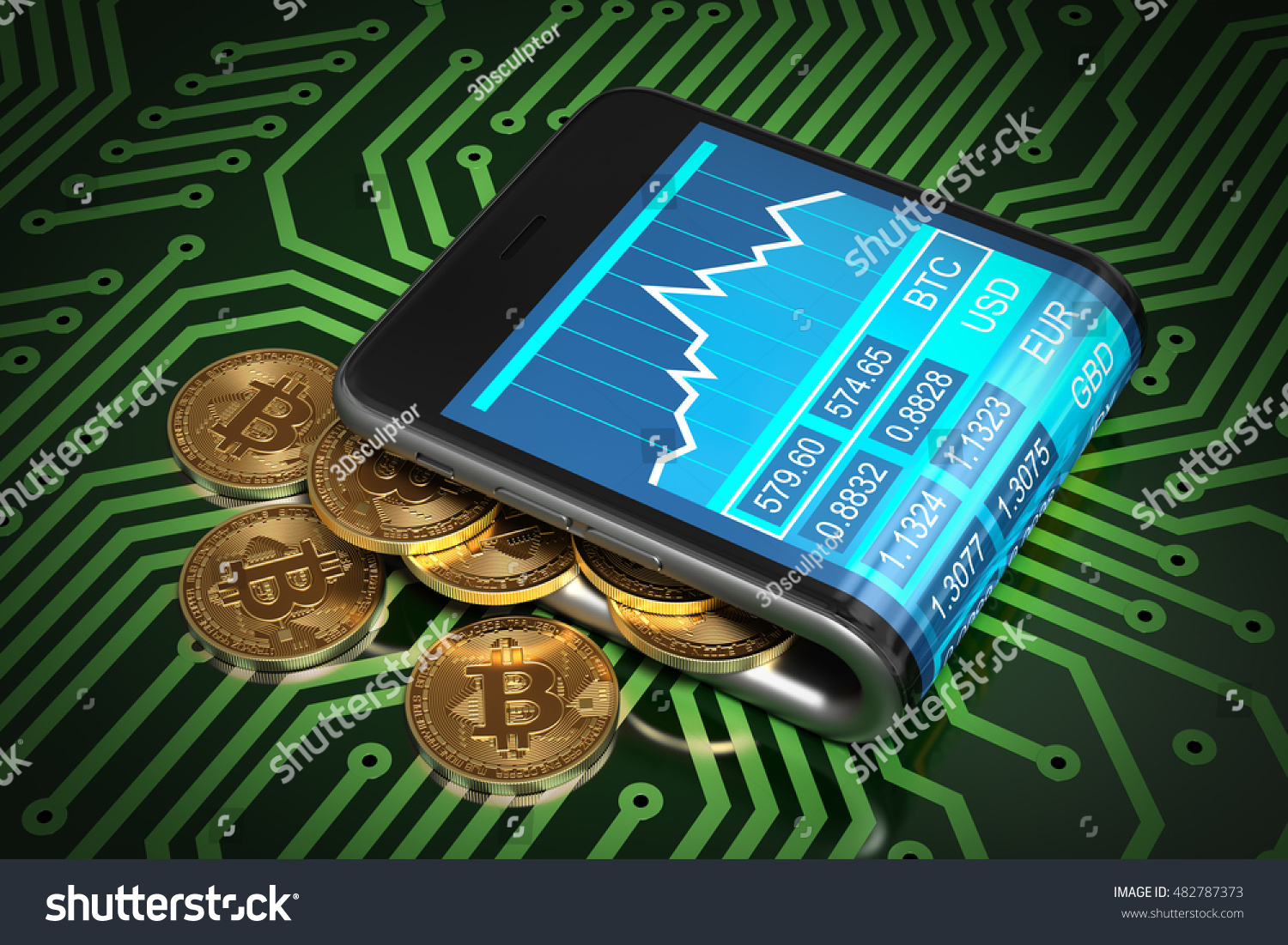 Concept Of Digital Wallet And Bitcoins On Green Printed Circuit Board Illustration A Spill Out The Curved Smartphone 3d Ez Canvas
