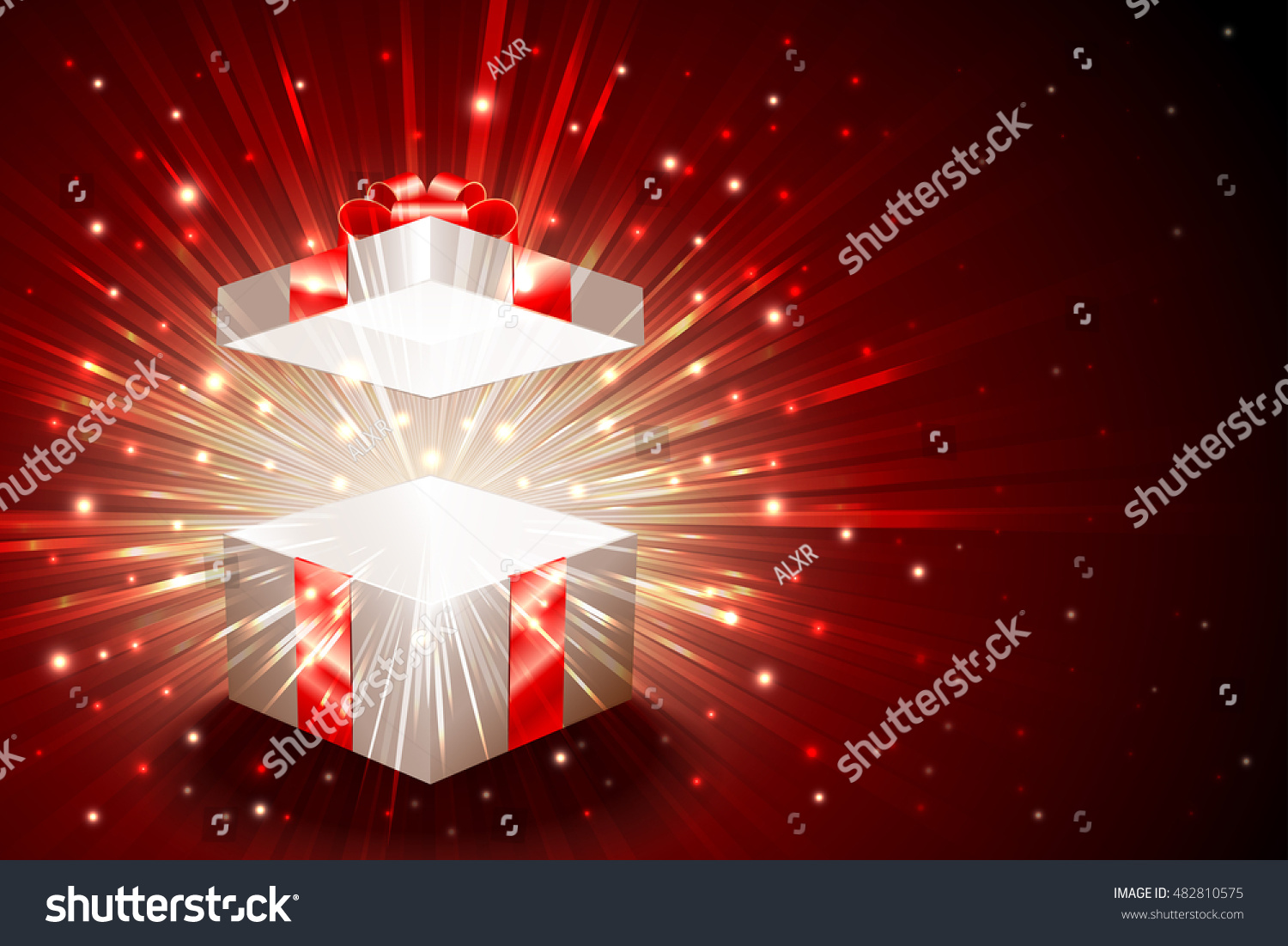 Open Gift Box With Shining Exploding Firework From Glitter For Theme Of Christmas New Year