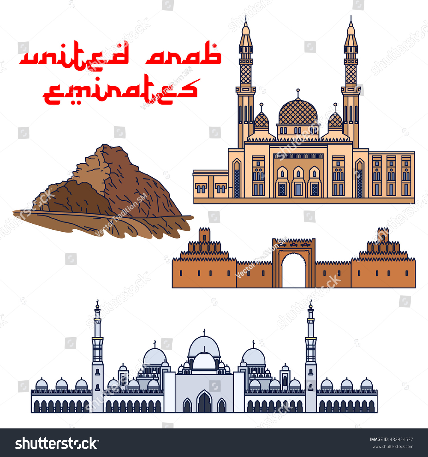 Famous Historic Buildings Of United Arab Emirates Vector Detailed