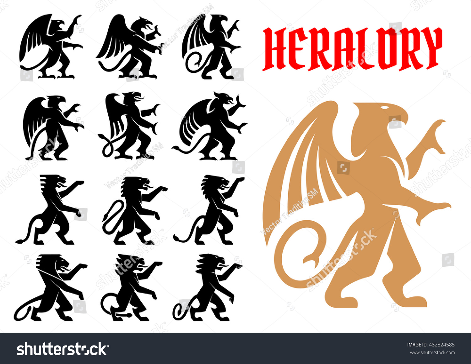 How to breed heraldic dragon - Heraldic Mythical Animals Icons Set Vector Heraldry Emblem Silhouettes Of Griffin Dragon Lion