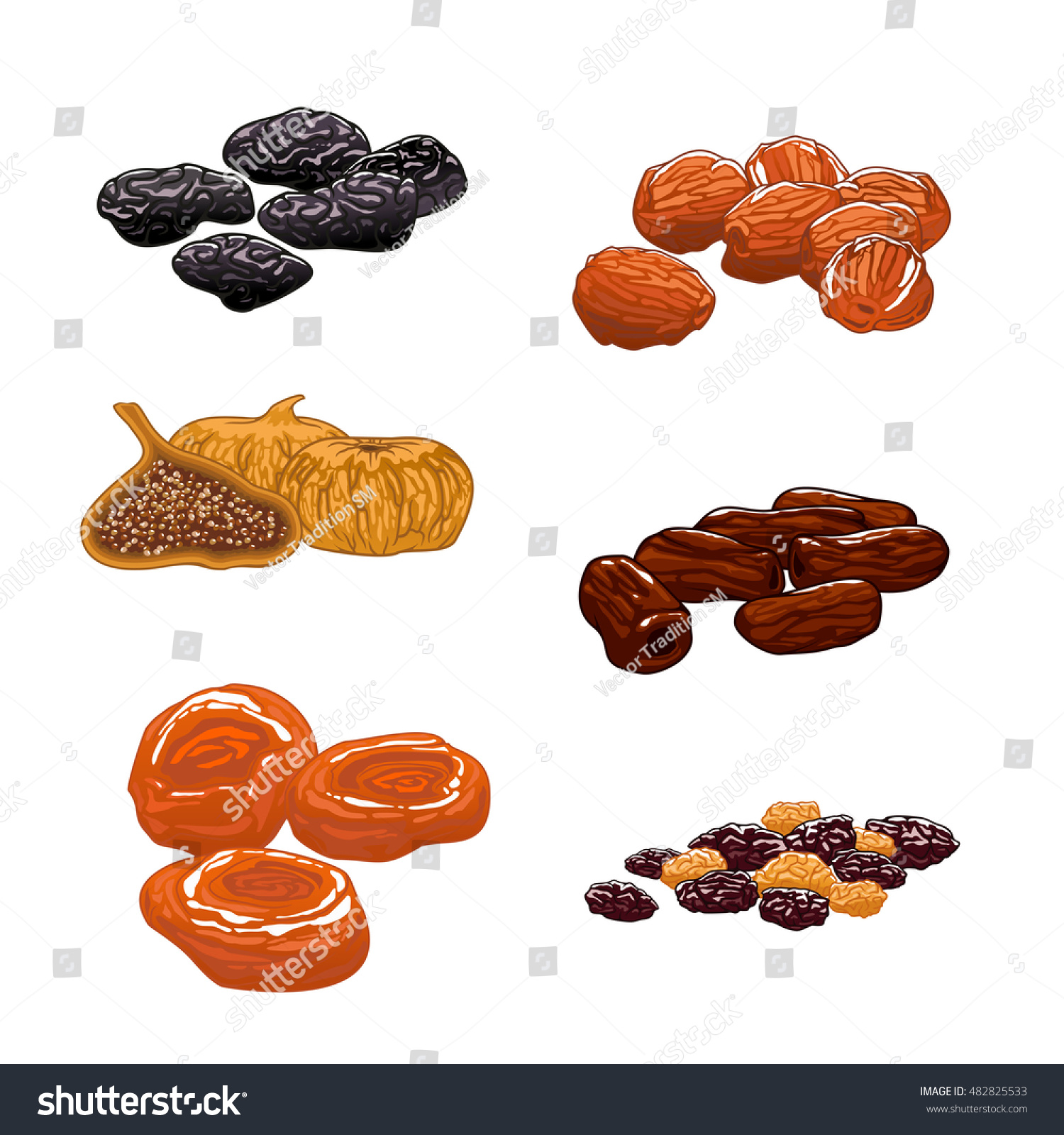 Dried Fruits Set Isolated Vector Icons Stock Vector