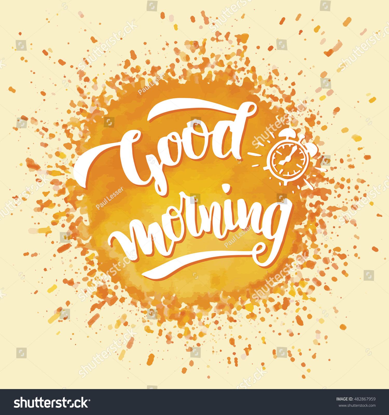 Good morning brush calligraphy on yellow stock vector