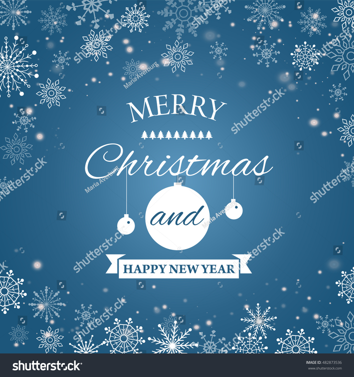 Ecard Happy New Year Merry Christmas Stock Vector Royalty Free