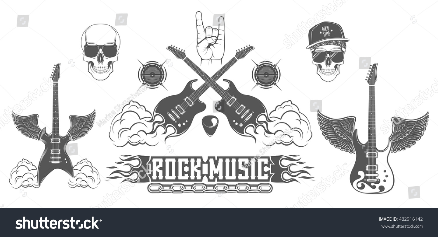 Graphic Set Symbol Rock Music Electric Stock Vector Royalty Free