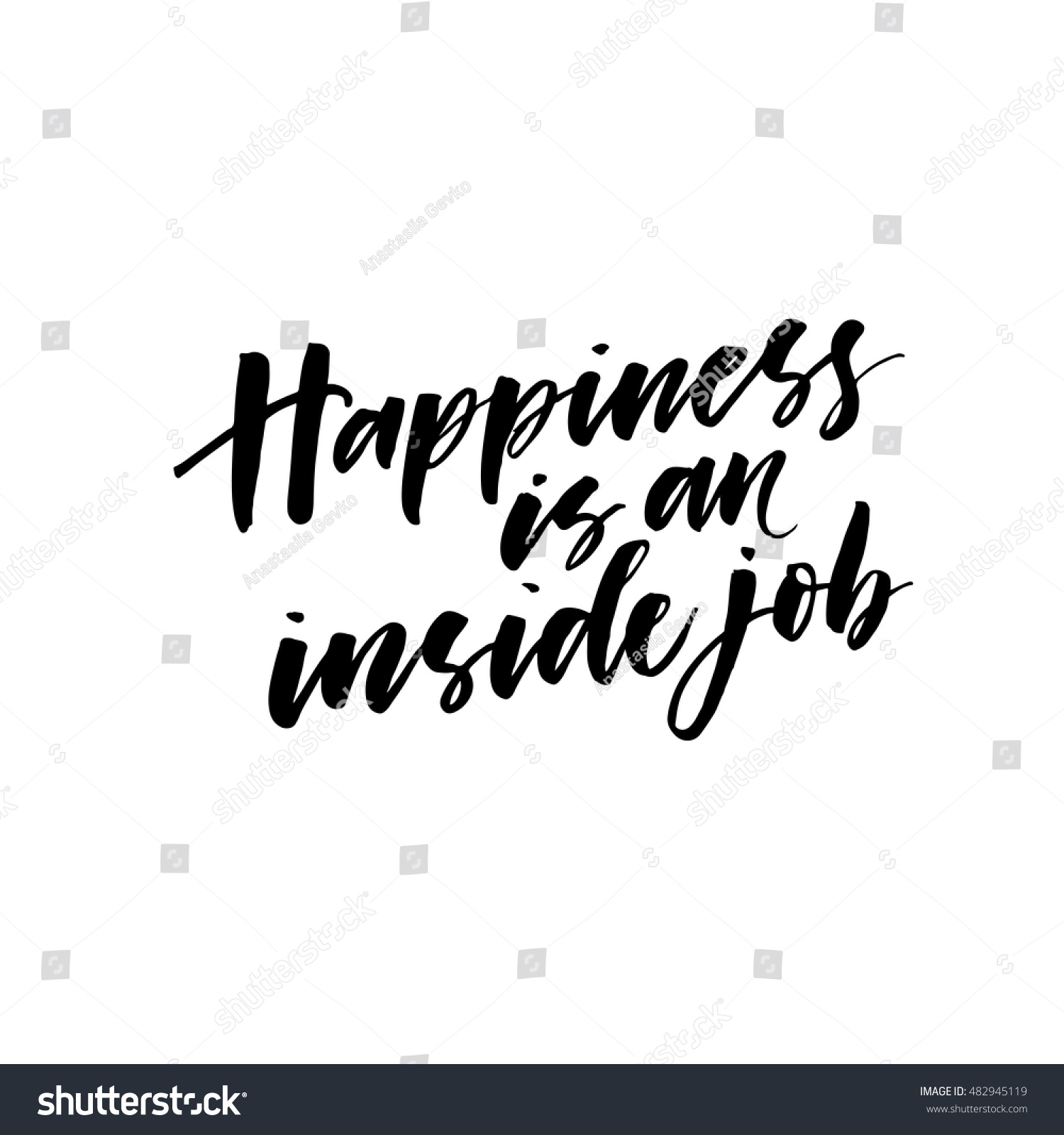 Happiness Inside Job Postcard Hand Drawn Stock Vector