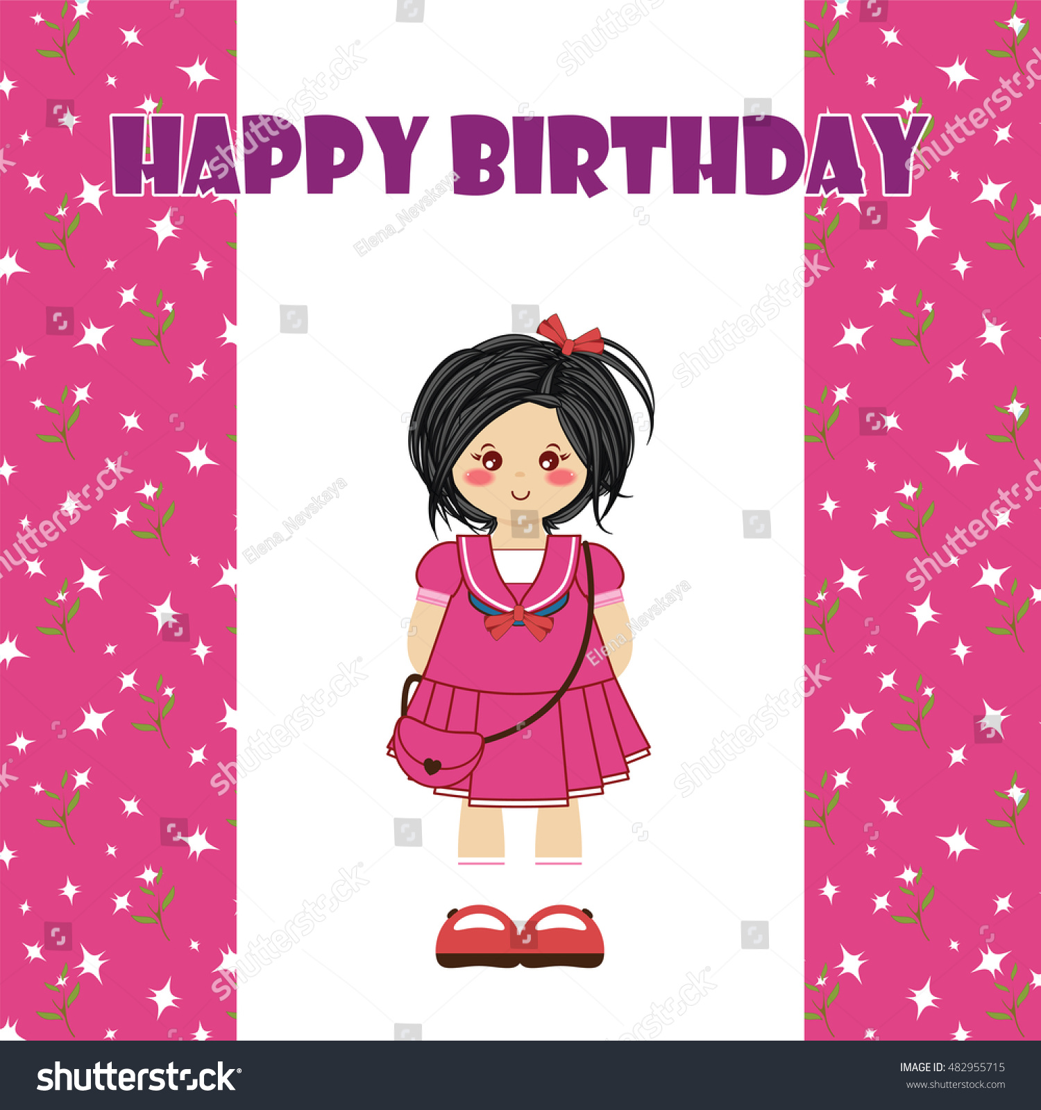 Happy birthday greeting card kawaii little stock vector 482955715 happy birthday greeting card kawaii little girl with black hair tender childish design kristyandbryce Image collections