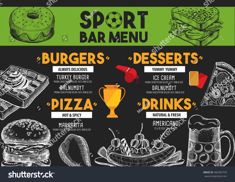 sport bar menu placemat food restaurant stock vector (royalty free