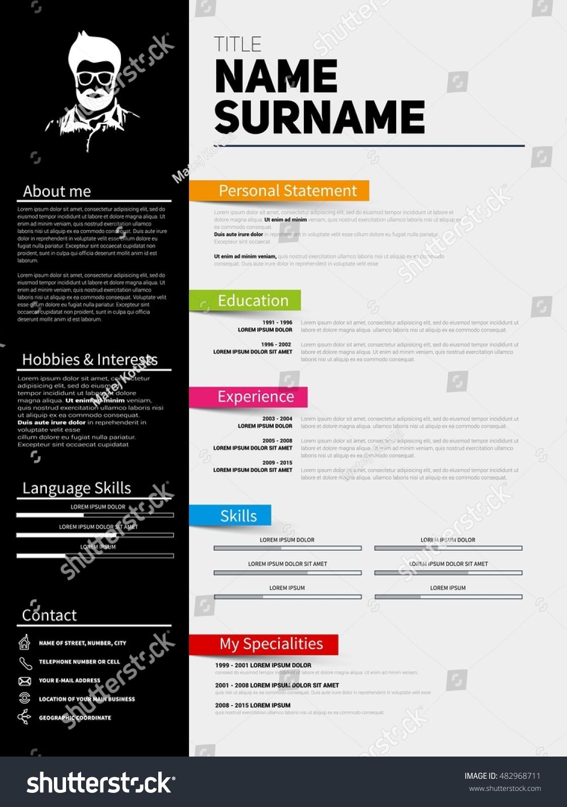 minimalist cv resume template simple design stock vector