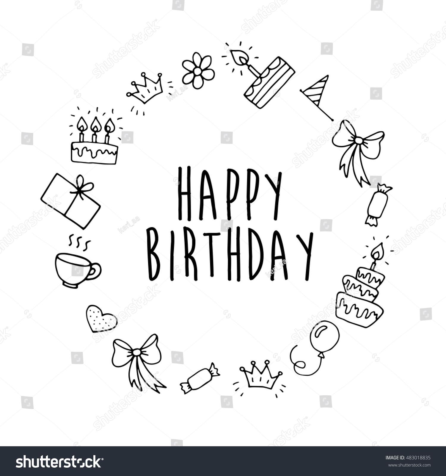 Vector Happy Birthday Background Handdrawn Birthday Stock