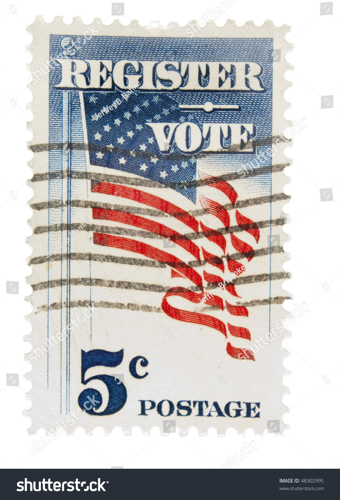 f14bab1c6a76 UNITED STATES - CIRCA 1960  A 5 cent Vintage US postage stamp depicting US  flag