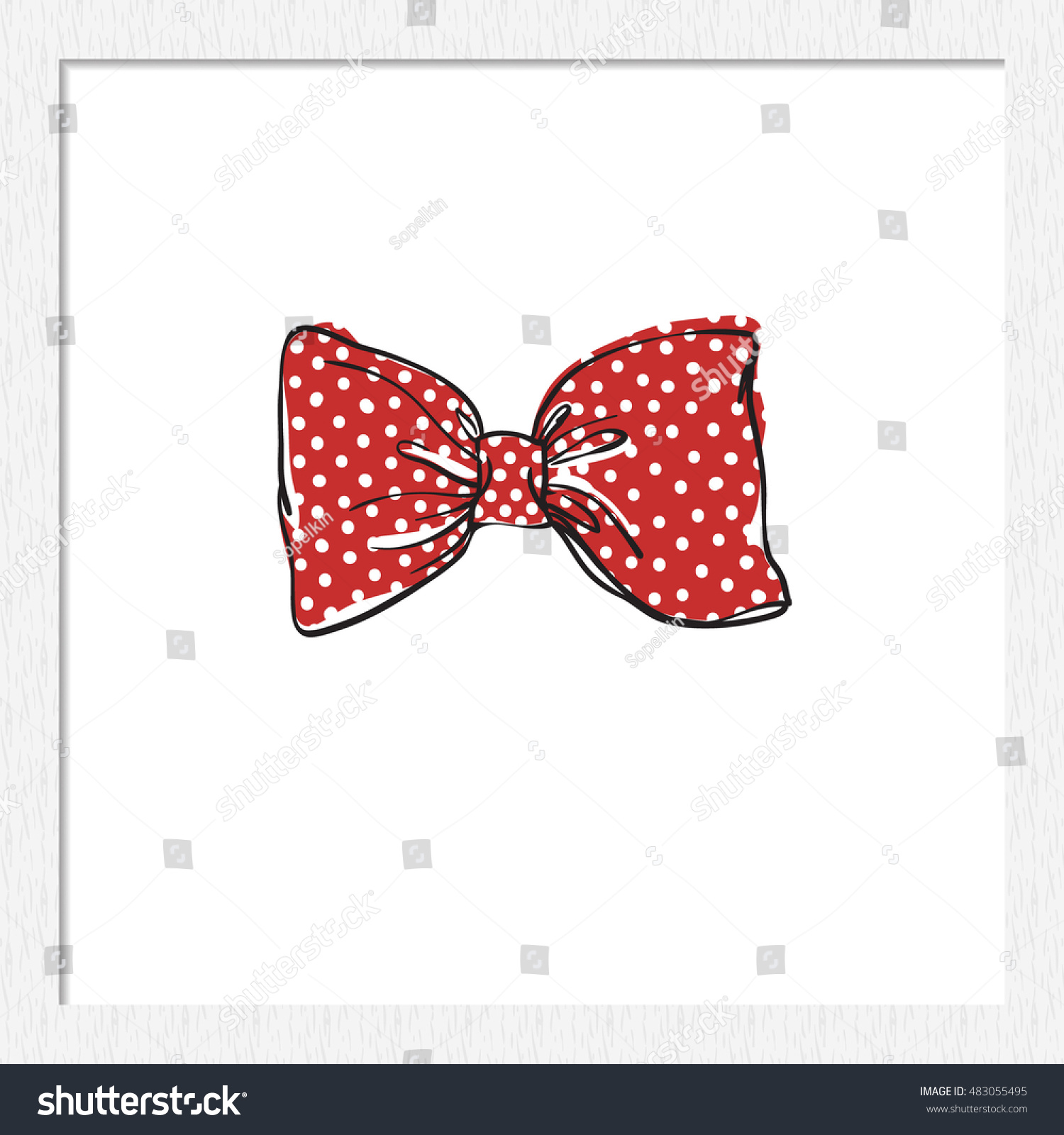 Beautiful Festive Decoration Red Bowtie Vector Stock Vector Royalty