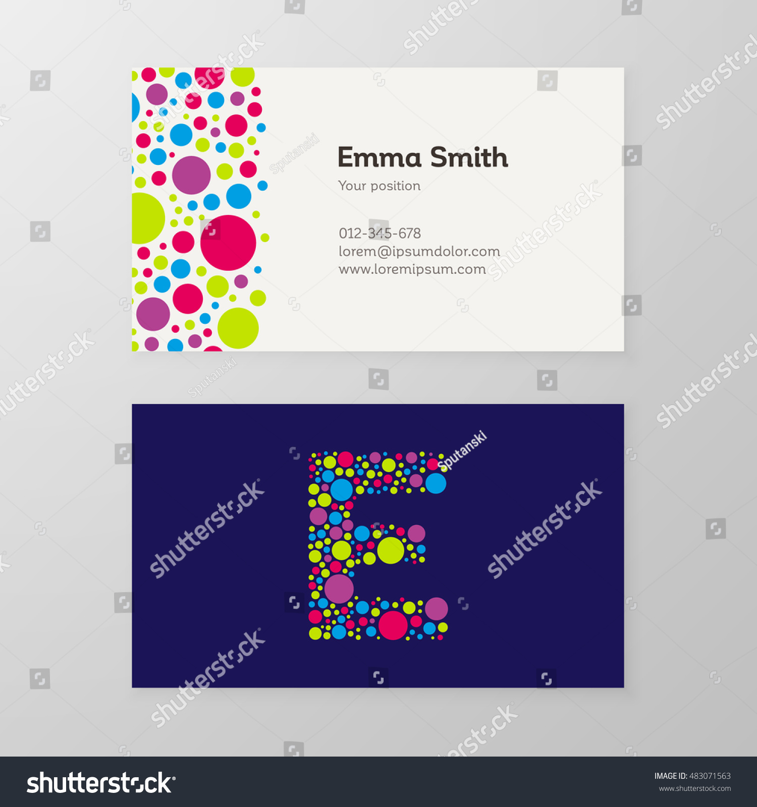 Modern Letter E Circle Colorful Business Stock Vector