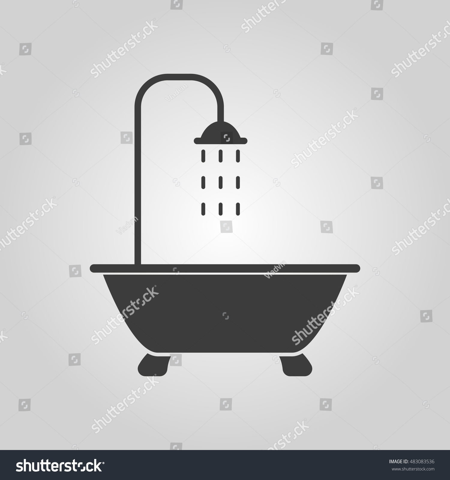 Bathroom Symbol Shower Icon Bathroom Symbol Flat Illustration Stock Illustration .