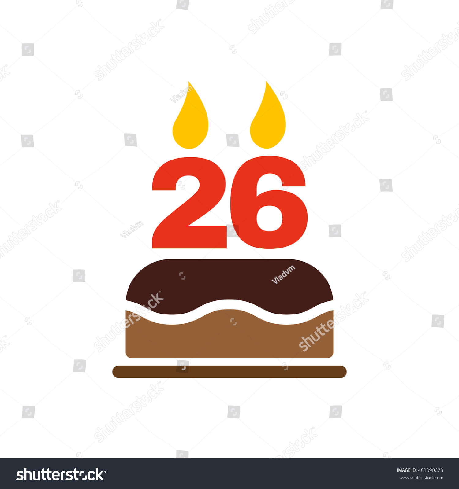 Birthday Cake Candles Form Number 26 Stock Illustration Royalty