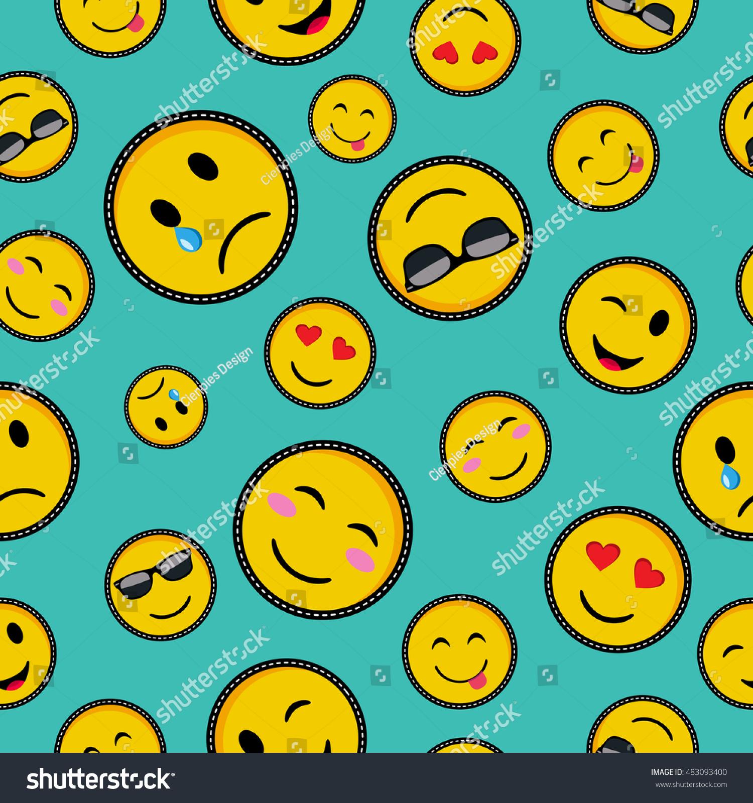 Seamless Pattern Vibrant Color Emoji Smiley Stock Vector Royalty