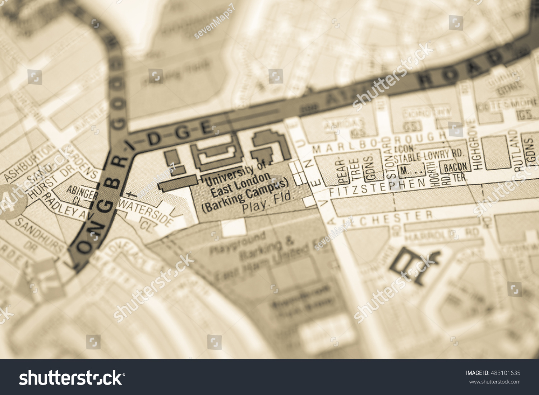 East London Uk Map.University East London London Uk Map Stock Photo Edit Now 483101635