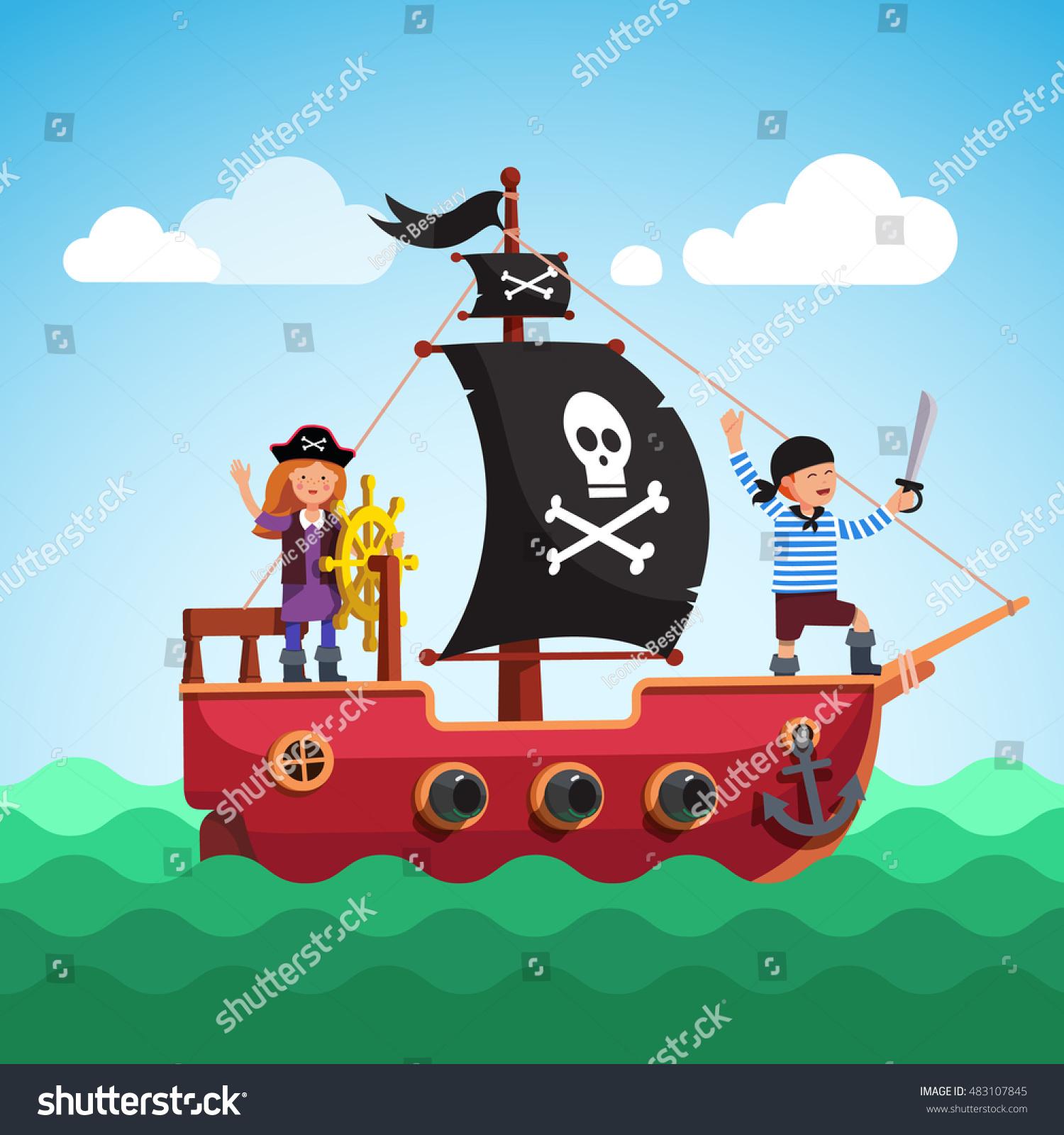 kids pirate ship boy captain stock vector 483107845