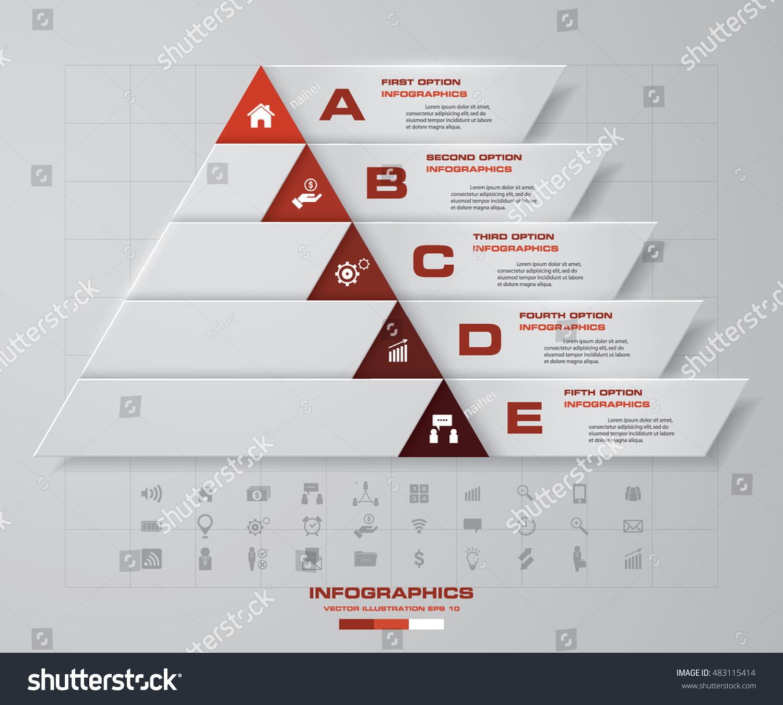Abstract Pyramid Shape Layout 5 Steps Stock Vector (2018) 483115414 ...