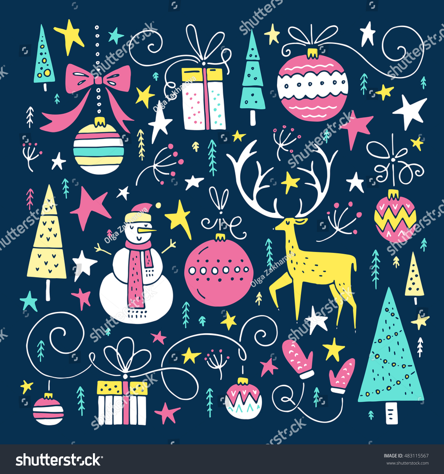 Set unique cute christmas illustrations clipart stock for Cool christmas art
