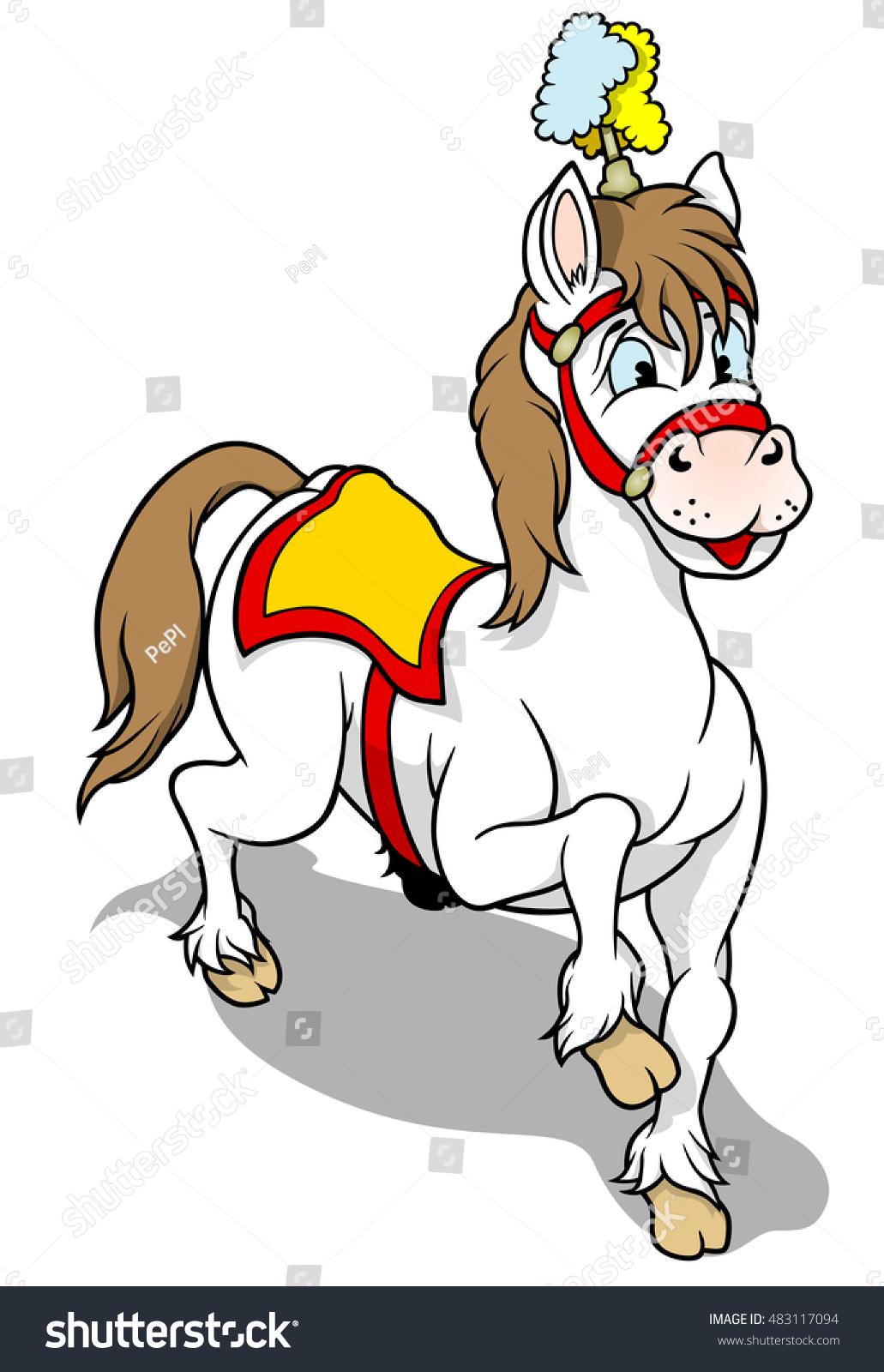 white circus horse cartoon illustration vector stock vector