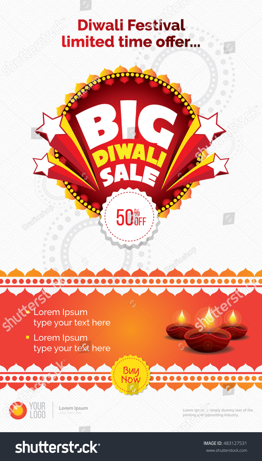 Big Diwali Sale Template Diwali Festival Stock Vector (Royalty Free ...