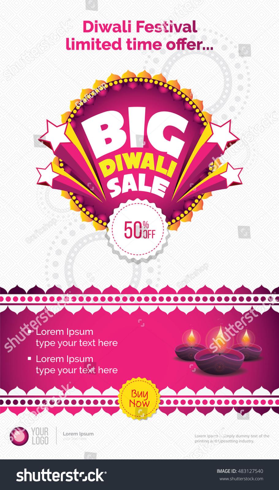 big diwali template diwali festival stock vector  big diwali template diwali festival offer template lamps