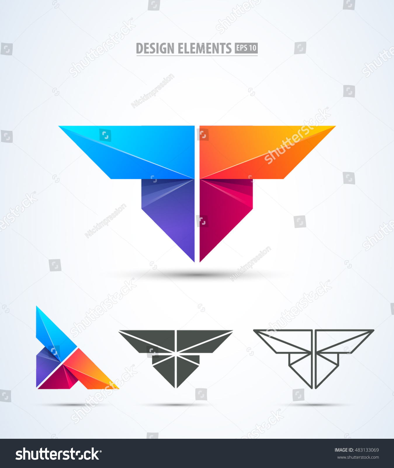 Logotype butterfly and letter b in different colour variants on a - Abstract Vector Letter T Logo Icon Set Wings Butterfly Airplane Icons Collection