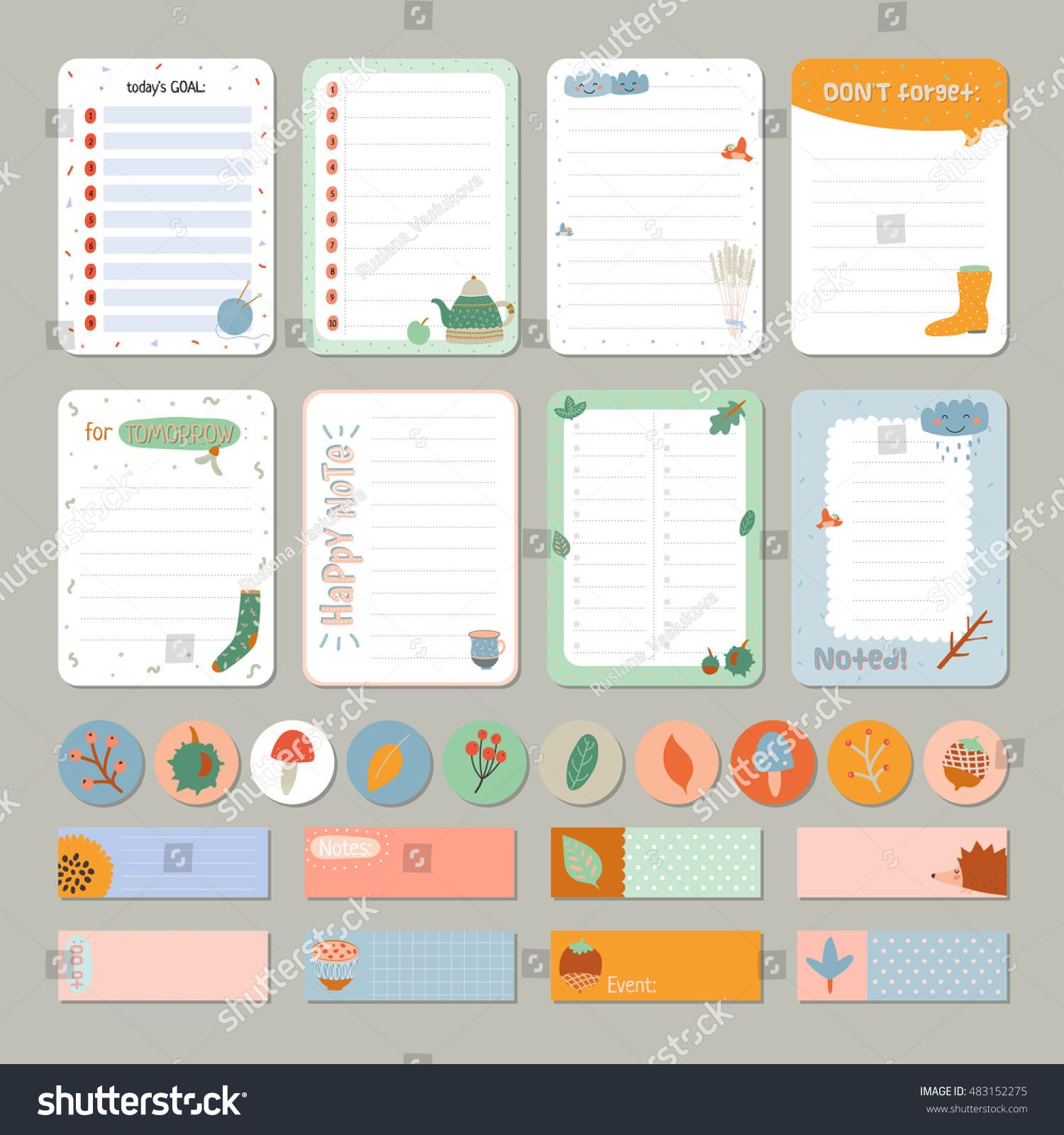 cute daily calendar do list template stock vector