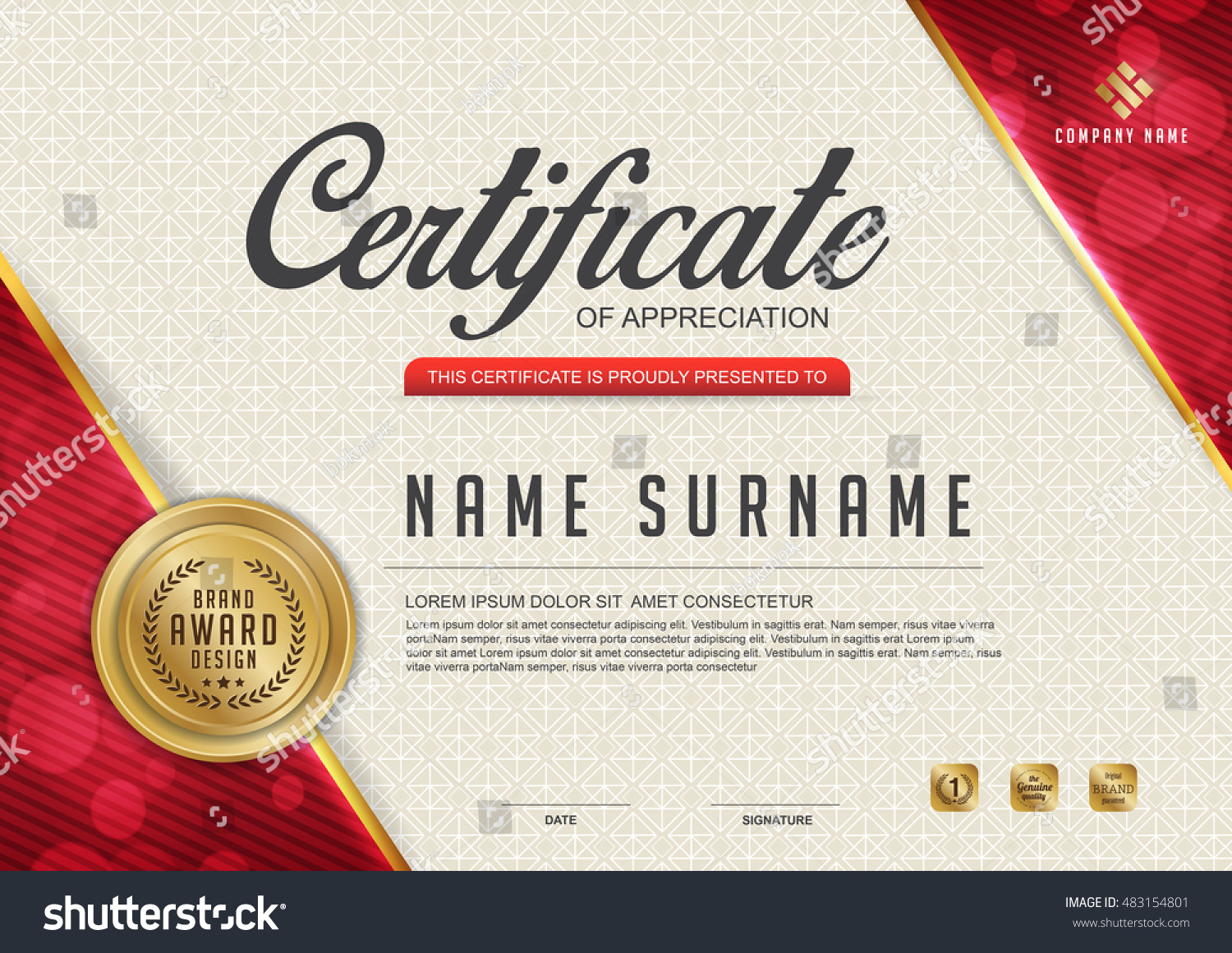 certificate template with Luxury pattern Vector illustration