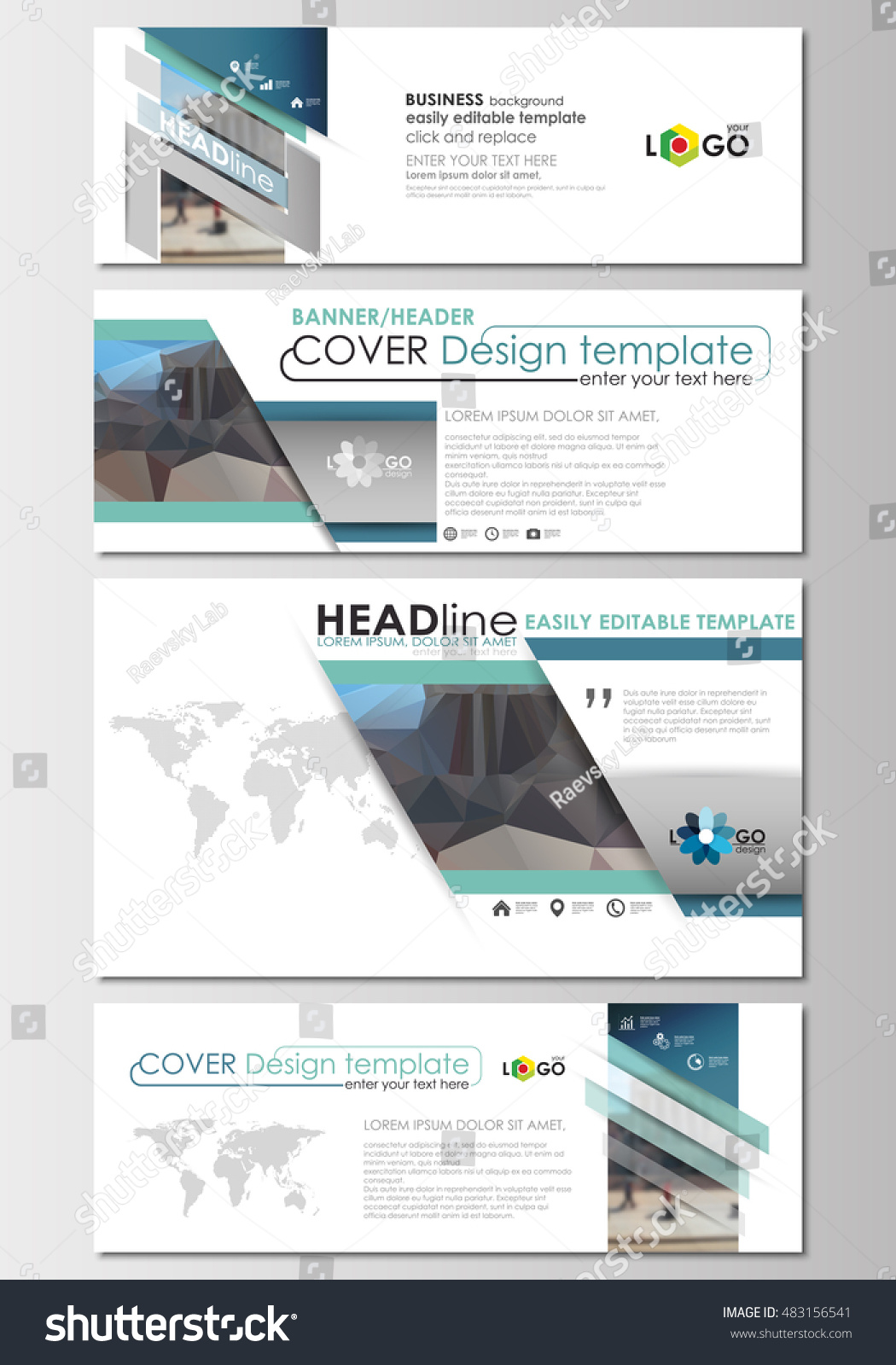 Social Media And Email Headers Set Modern Banner Templates Cover