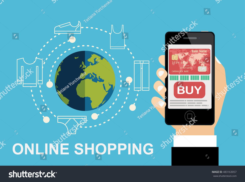 Internet Shopping Ecommerce Concept Smartphone Via Stock