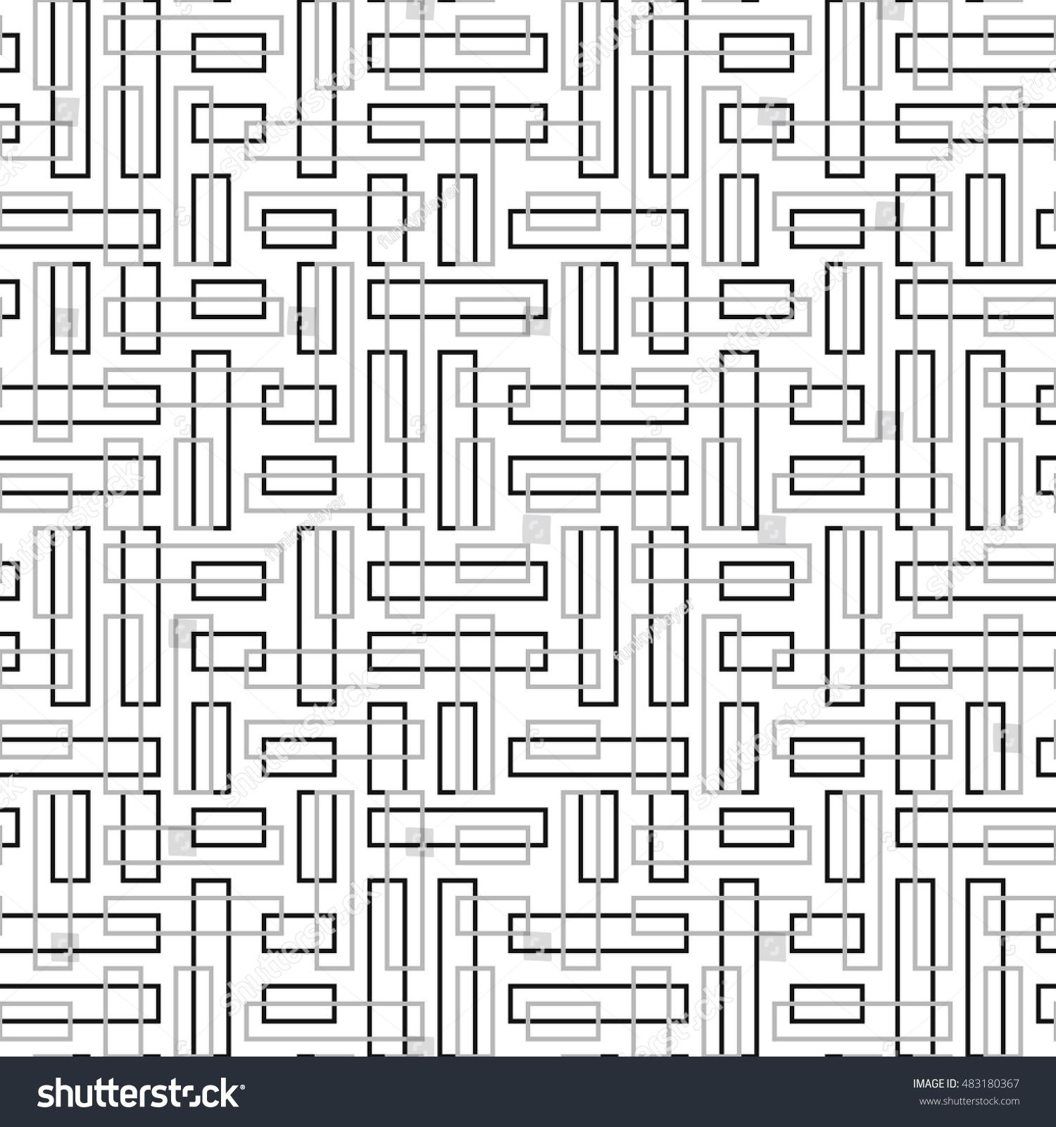 Seamless Pattern Symmetric Ornament Grey Black Stock Vector