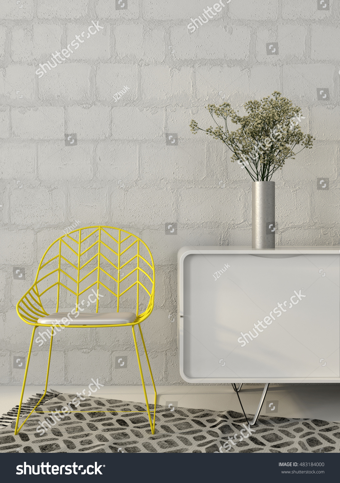 3 D Illustration Modern Yellow Chair Wires Stock Illustration ...